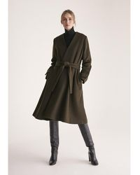 Paisie A-line Collarless Coat With Cuff Details In Dark Green (with Self Belt)