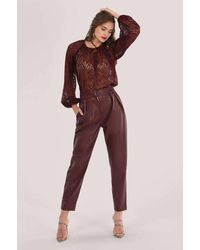 Closet Maroon Pleated Trouser - Red