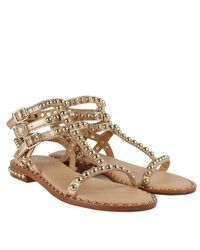 Ash Play Sandals In Rose Gold Leather - Metallic