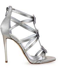 Ninalilou Ninalilou Swarowski Butterflies Gray Heeled Sandal 36 - Metallic