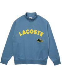 Lacoste Live Loose Fit Branded Cotton Fleece Sweatshirt Blue