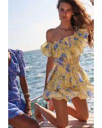 LoveShackFancy Fatima Floral Print Cotton Silk Mini Dress - Yellow