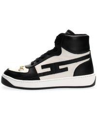 Elisabetta Franchi Sneakers In Vitello Logo Morsetto Light Goldcomposizione Articolo 100% Leather - Black