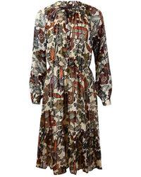 Scotch & Soda Scotch & Soda Long Sleeve Midi Print Dress - Multicolour