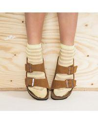Birkenstock Arizona Suede Leather Mink Sandals - Natural