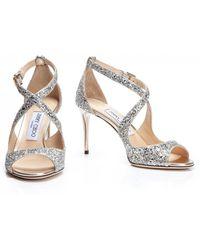 Jimmy Choo Emily 85 Champagne Glitter Sandal - Metallic