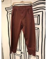 Transit Out Of The Ordinary Trousers In Burgundy - Brown