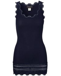 Rosemunde Silk Lace Trimmed Long Top Navy 5315-135 - Blue
