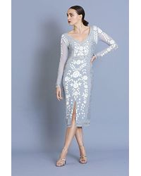 Frock and Frill Harper Embellished V-neck Midi Dress - White