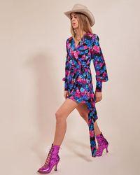 ANDAMANE Carly Floral Mini Dress - Blue