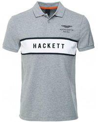 Hackett Slim Fit Logo Panel Polo Shirt Colour: Gray