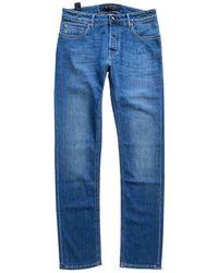 Hand Picked Light Wash Jean With Brown Badge 001 Dark Denim - Blue