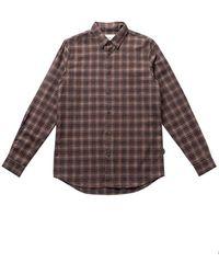 Folk Folk Storm Shirt In Mid Brick Check - Multicolour