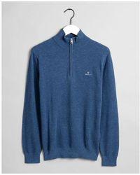 GANT Denim Melange Cotton Piqué Half-zip Sweater 8030523 - Blue