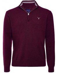 GANT Superfine Lambswool Half Zip Sweater - Purple
