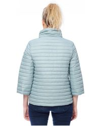 Save The Duck - Blue Cropped Quilted Jacket - Lyst