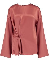 Vince Knot Front Blouse In Rosewood - Brown