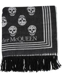 McQ Scarf With Skull - Black