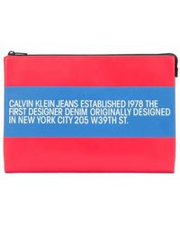 Calvin Klein Men's J40j400010676 Red Leather Pouch