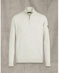 Belstaff Light Grey Melange Bay Half Zip Jumper - White