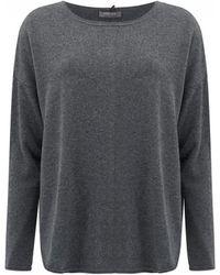 Cocoa Cashmere - Lurex Stripe Curved Hem Cashmere Sweater - Lyst