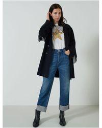 Marella Colour Fringed Coat - Black