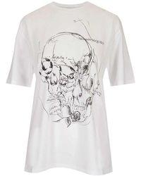 Alexander McQueen Women's 651917qzacn0900 White Other Materials T-shirt