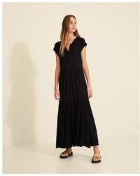 Yerse Long Cap Sleeve Dress () - Black