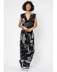 Religion Frame Print Jumpsuit - Black