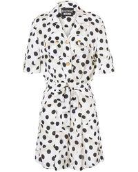 Moschino Boutique Polka Dot Silk Playsuit - White