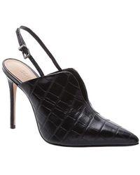 Schutz Black Crocodile Sling Back Stilettos