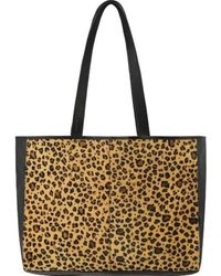 Brix + Bailey Leopard Print Leather Hair On Hide Horizontal Tote - Multicolour