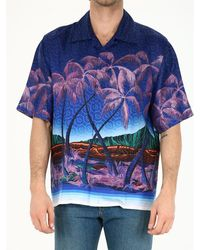 CASABLANCA Printed Silk Shirt - Blue