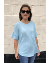 Kinross Cashmere Short Sleeve Cashmere Top In Oasis Blue