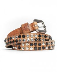 Replay Studded Skinny Belt Colour: Tan - Brown