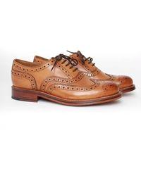 Grenson Stanley Calf Brogue Shoe Colour: Tan - Brown