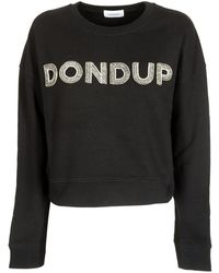 Dondup Black Crop Sweatshirt With Rhinestone