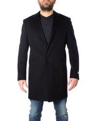 Canali Men's Fu0003957118r Blue Wool Coat