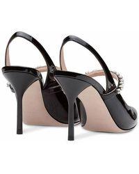 Miu Miu Crystal-inset Patent Leather Slingback Pumps - Black