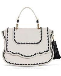 Thale Blanc Audrey Satchel: White Designer Handbag With Black Stitching