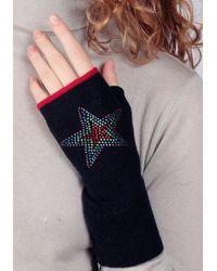 Adeela Salehjee Munich Navy Fingerless Glove In Solid Colour , Style:rainbow Star - Blue