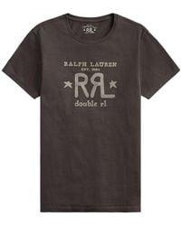 RRL by RALPH LAUREN Graphic Logo T-shirt Faded Canvas - Black