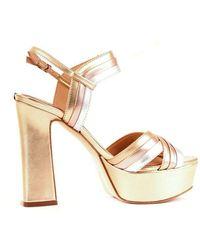 Guess Women's Fl6ia2lel03gold Gold Synthetic Fibres Sandals - Metallic