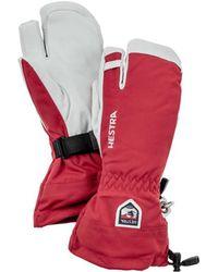 Hestra Army Leather Heli Ski 3 Finger Glove Red