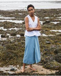 Beaumont Organic Shelby Denim Skirt In Light Denim - White