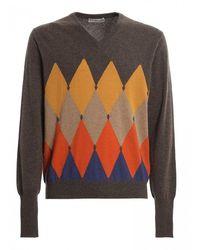 Ballantyne Argyle Cashmere V-neck Sweater - Gray