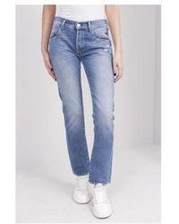 Replay Roxel Flower Patch Jeans Colour: Medium Blue