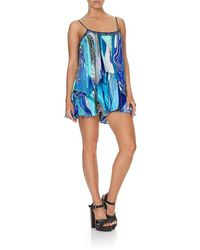 Camilla Flared Playsuit W/overlay In - Blue