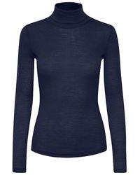 Gestuz Wilma Long Sleeved Wool Tee Peacoat - Blue