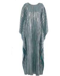 Lisou Giselle Green Metallic Plisse Kaftan Maxi Dress - Blue